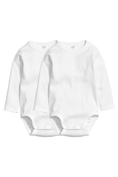 2-pack long-sleeved bodysuits - White -  | H&M CN 1