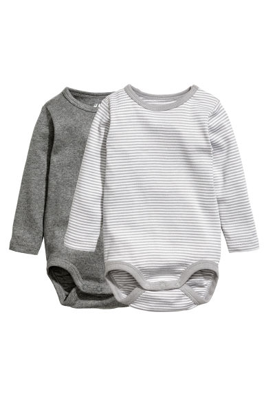 2-pack long-sleeved bodysuits - Grey/Striped - Kids | H&M CN 1