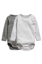 2-pack long-sleeved bodysuits - Grey/Striped - Kids | H&M 1