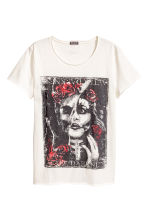 Printed T-shirt - Natural white - Men | H&M CN 1