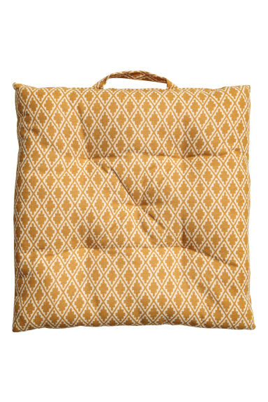 Patterned seat cushion - Natural white/Mustard yellow - Home All | H&M CN 1