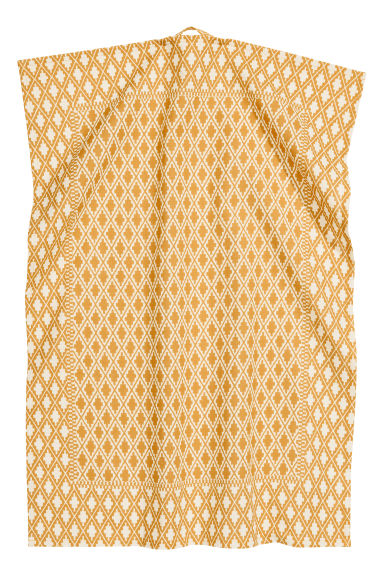 Patterned tea towel - Natural white/Mustard yellow - Home All | H&M CN 1