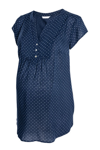 MAMA Short-sleeved blouse - Dark blue/Spotted - Ladies | H&M CN 1