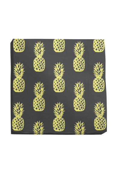 Paper napkins - Black/Pineapple - Home All | H&M CN 1