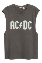 Printed vest top - Dark grey AC/DC - Men | H&M CN 2