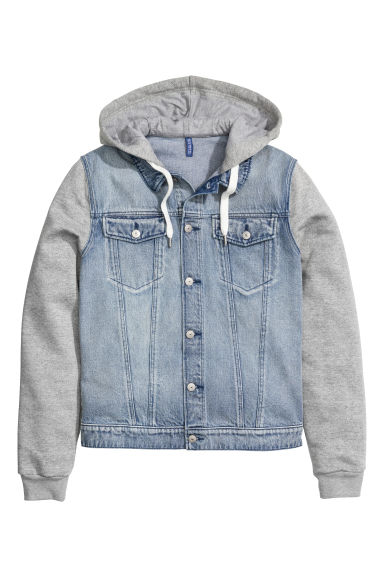 Denim jacket with a hood Model