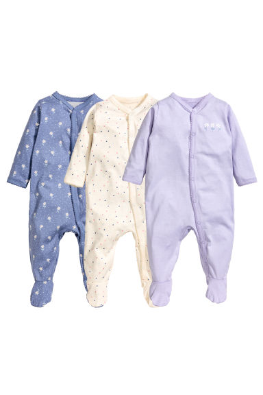 3-pack all-in-one pyjamas - Purple - Kids | H&M 1