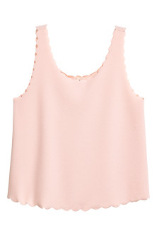 Vest top with scalloped edges