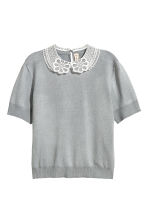 Fine-knit top with a collar - Grey - Ladies | H&M 3