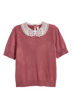 Fine-knit top with a collar - Terracotta - Ladies | H&M 2