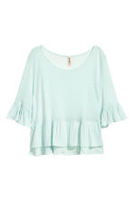 Flounced linen-blend top - Mint green - Ladies | H&M CA 2