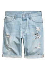 Denim shorts Trashed - Light denim blue - Men | H&M 2