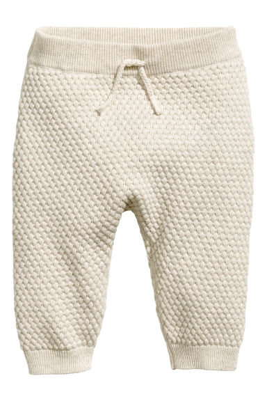 Moss-stitch knitted trousers - Light beige - Kids | H&M
