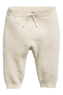 Moss-stitch knitted trousers