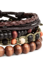 4-pack bracelets - Dark brown - Men | H&M 3