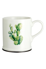 Porcelain mug with print motif - White/Cactus - Home All | H&M CN 1