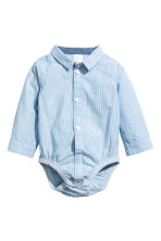 Cotton shirt-style bodysuit - Blue/White/Striped -  | H&M 1