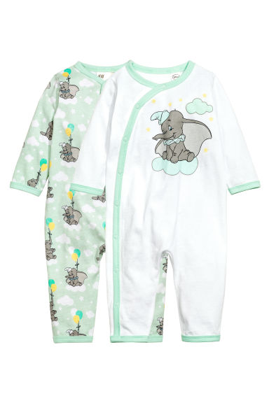2-pack all-in-one pyjamas - Mint green/Dumbo - Kids | H&M 1