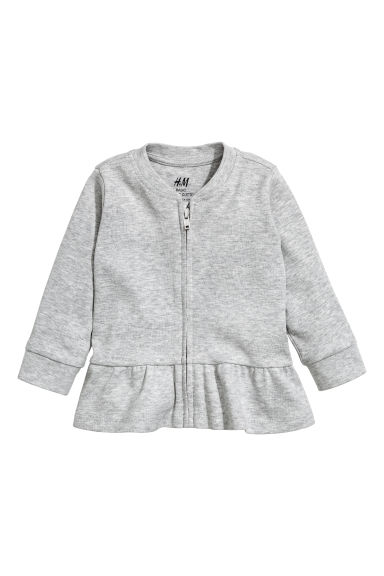 Jersey cardigan with a flounce - Grey -  | H&M CN 1