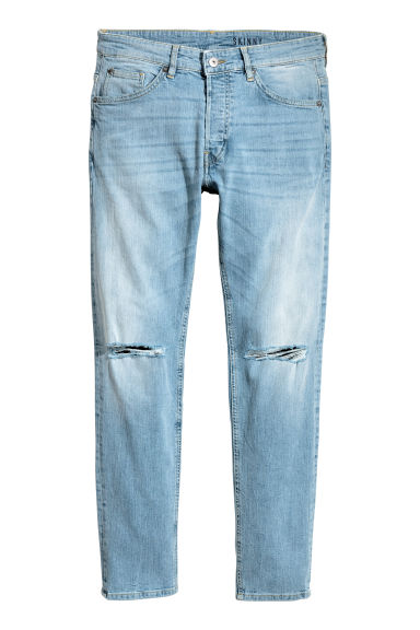 Skinny Low Trashed Jeans - Blu denim chiaro - UOMO | H&M IT 1