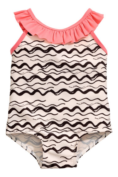 Patterned swimsuit - Natural white/Black - Kids | H&M 1