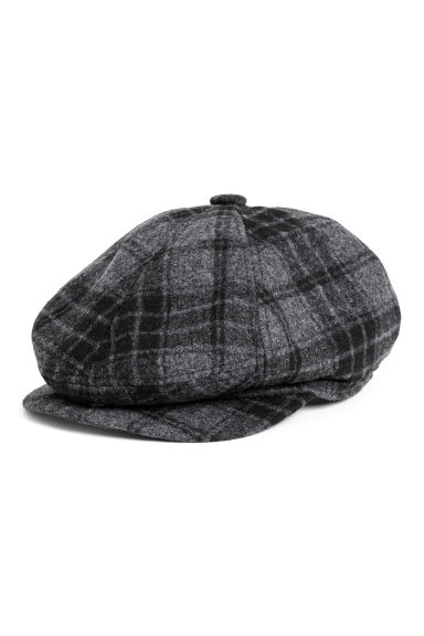 Flat cap - Dark grey/Checked - Men | H&M
