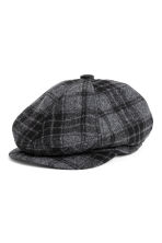 Flat cap - Dark grey/Checked - Men | H&M CN 1
