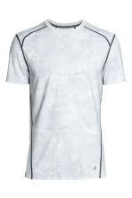 Short-sleeved sports top - Light grey/Patterned - Men | H&M 2