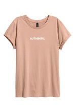 T-shirt with a motif - Beige - Ladies | H&M GB 2