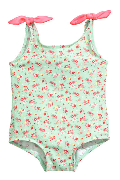 Swimsuit with bows - Mint green/Floral - Kids | H&M