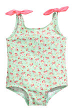 Swimsuit with bows - Mint green/Floral - Kids | H&M 1