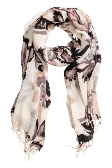 Woven scarf - White/Grey floral -  | H&M CN 1
