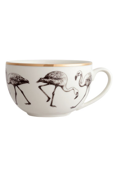 Printed porcelain cup - White/Flamingo - Home All | H&M CN 1