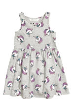 Patterned jersey dress - Grey/Unicorns - Kids | H&M CN 2