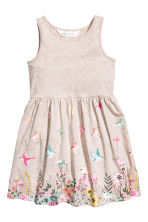 Patterned jersey dress - Light beige marl - Kids | H&M 2