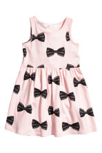 Patterned jersey dress - Light pink/Bows - Kids | H&M 1