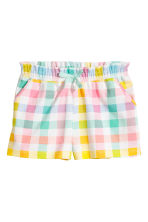 Jersey shorts - White/Checked -  | H&M CA 2