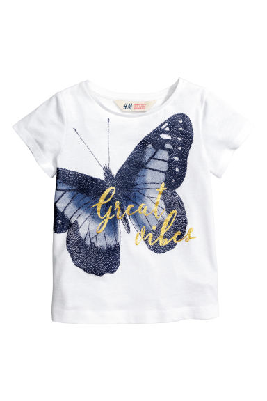 Top con stampa - Bianco/farfalle -  | H&M IT 1