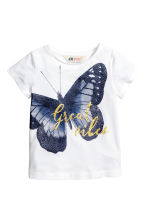 Printed top - White/Butterfly -  | H&M CN 1