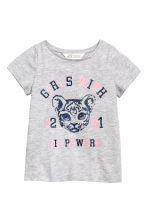 Printed top - Grey/Tiger -  | H&M 2
