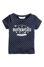 Printed top - Dark blue/Spotted - Kids | H&M CN 2