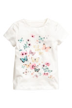 Printed top - White/Butterflies - Kids | H&M 2