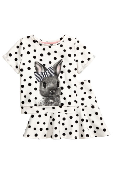 Top and skirt - White/Rabbit - Kids | H&M 1