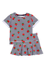 Top e gonna - Bianco/fragole - BAMBINO | H&M IT 2
