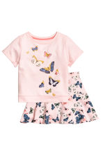 Top and skirt - Light pink/Butterflies - Kids | H&M 2