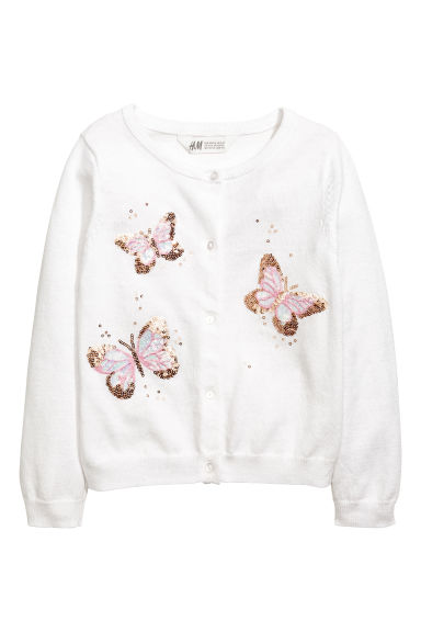 Fine-knit cardigan - White/Butterflies -  | H&M 1
