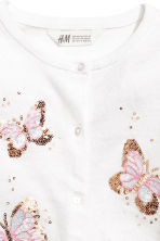 Fine-knit cardigan - White/Butterflies -  | H&M 2