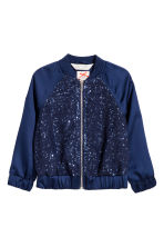 Sequined bomber jacket - Dark blue - Kids | H&M CN 2