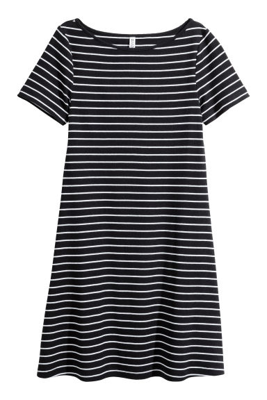 Ribbed jersey dress - Black/Striped -  | H&M