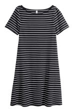 Ribbed jersey dress - Black/Striped -  | H&M 2